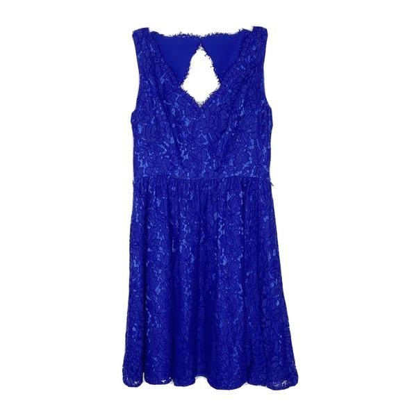 Eliza J Sleeveless Lace Fit-and-Flare Dress